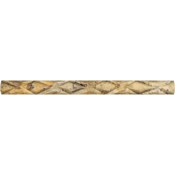 1 x 12 Honed Scabos Travertine Diamond Rope Liner - Tilephile