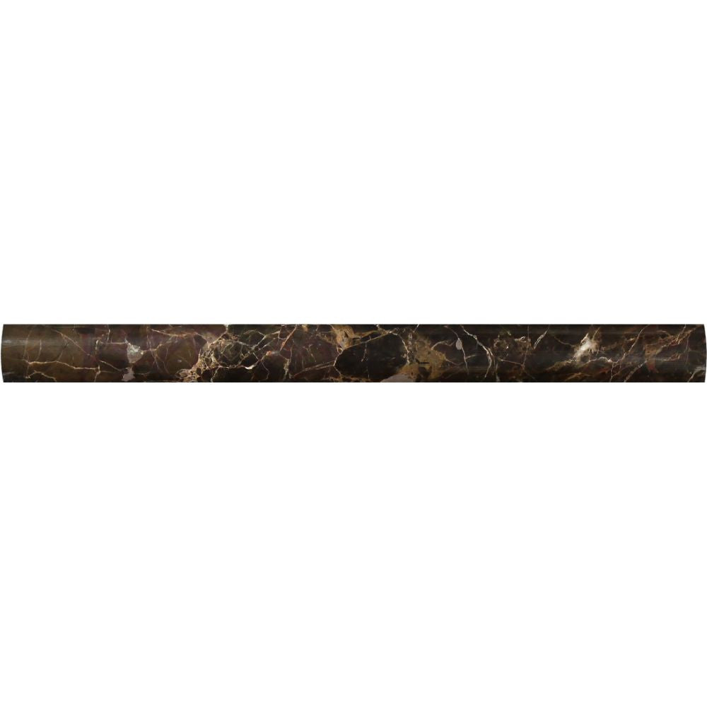 1 x 12 Polished Emperador Dark Marble Quarter Round Trim