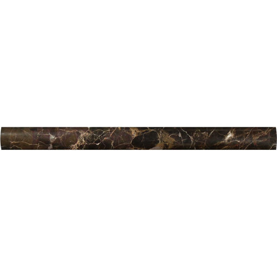 1 x 12 Polished Emperador Dark Marble Quarter Round Trim - Tilephile
