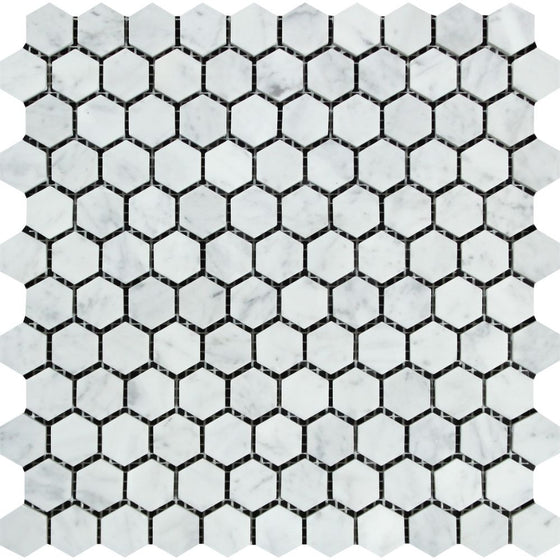 1 x 1 Honed Bianco Carrara Marble Hexagon Mosaic Tile - Tilephile