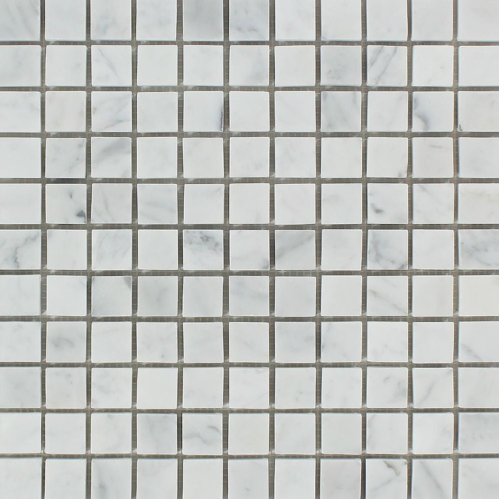 1 x 1 Honed Bianco Carrara Marble Mosaic Tile Sample - Tilephile