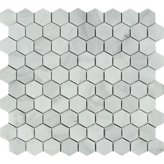1 x 1 Polished Bianco Mare Marble Hexagon Mosaic Tile - Tilephile