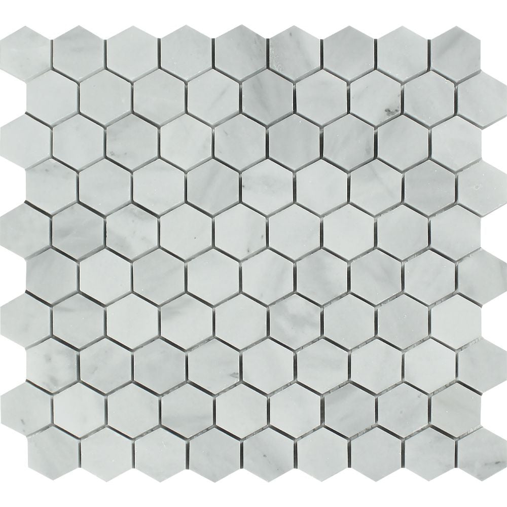 1 x 1 Honed Bianco Mare Marble Hexagon Mosaic Tile - Tilephile