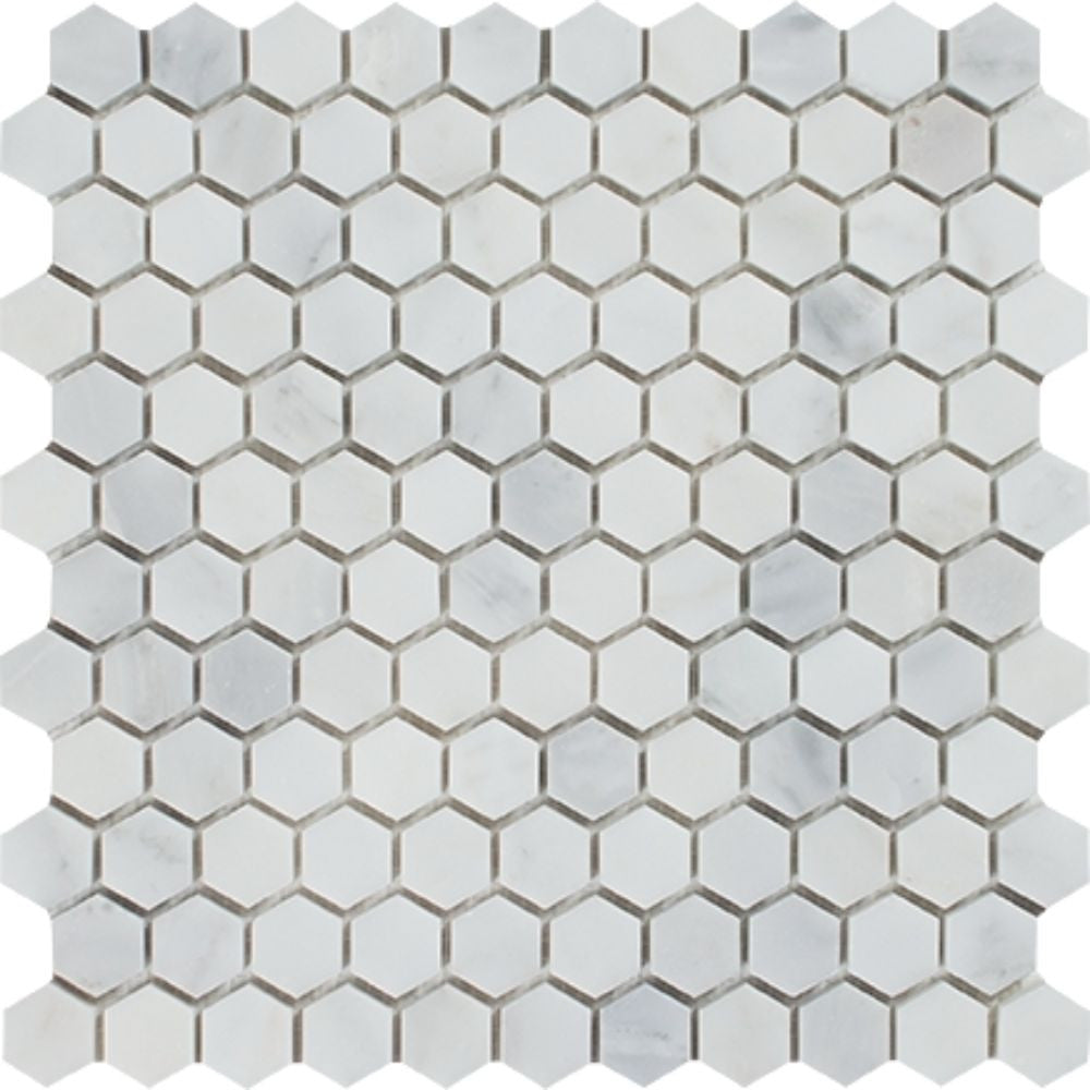 1 x 1 Honed Oriental White Marble Hexagon Mosaic Tile Sample - Tilephile