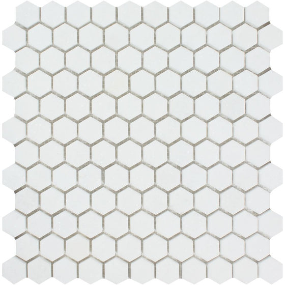 1 x 1 Honed Thassos White Marble Hexagon Mosaic Tile