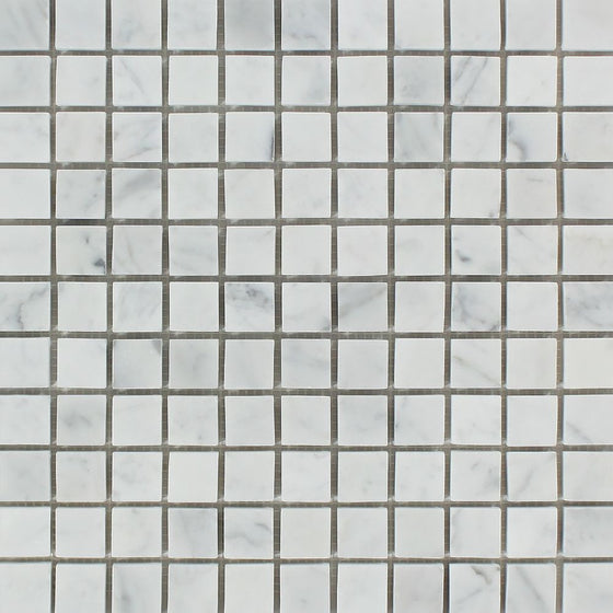 1 x 1 Polished Bianco Carrara Marble Mosaic Tile - Tilephile