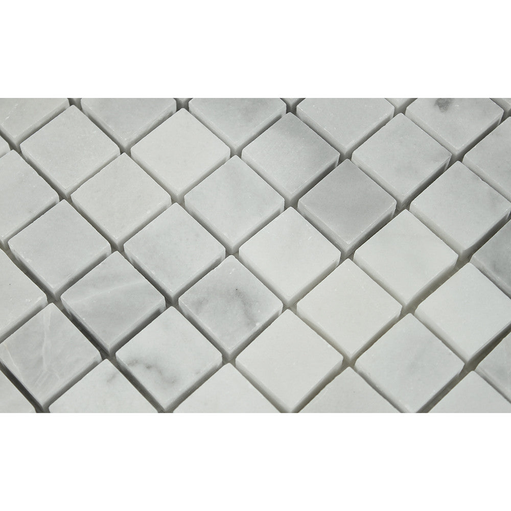 1 x 1 Polished Bianco Mare Marble Mosaic Tile