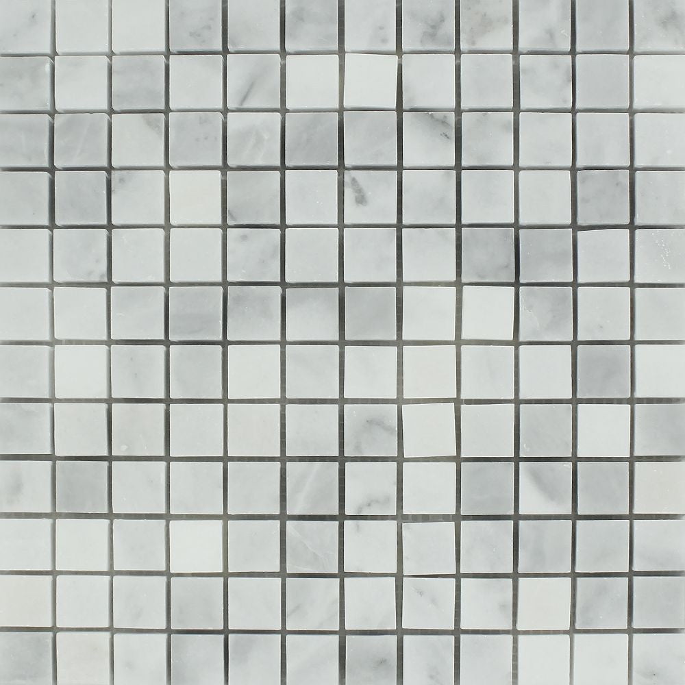 1 x 1 Polished Bianco Mare Marble Mosaic Tile - Tilephile