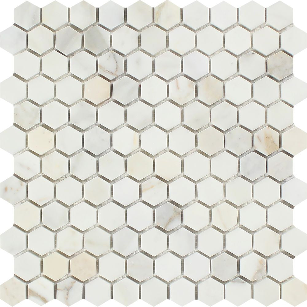 1 x 1 Polished Calacatta Gold Marble Hexagon Mosaic Tile Sample - Tilephile