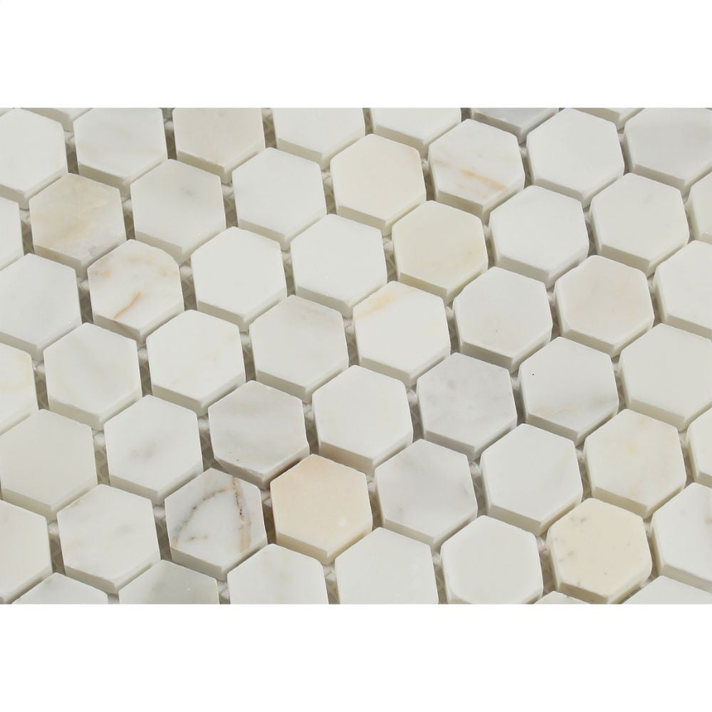 1 x 1 Polished Calacatta Gold Marble Hexagon Mosaic Tile