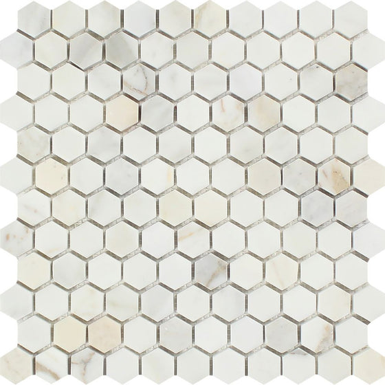 1 x 1 Polished Calacatta Gold Marble Hexagon Mosaic Tile - Tilephile