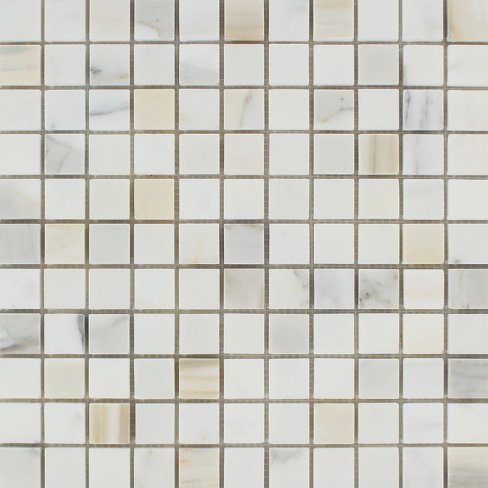 1 x 1 Polished Calacatta Gold Marble Mosaic Tile Sample - Tilephile