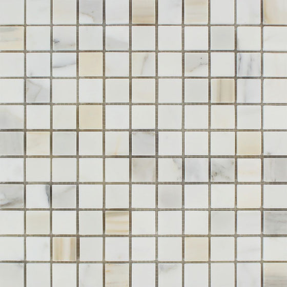 1 x 1 Polished Calacatta Gold Marble Mosaic Tile