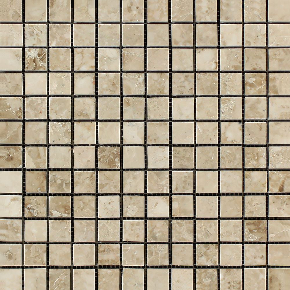 1 x 1 Polished Cappuccino Marble Mosaic Tile Sample - Tilephile