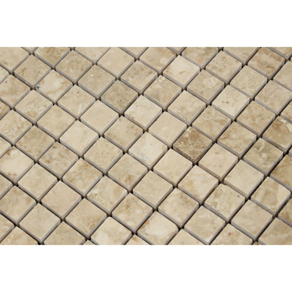 1 x 1 Polished Cappuccino Marble Mosaic Tile - Tilephile