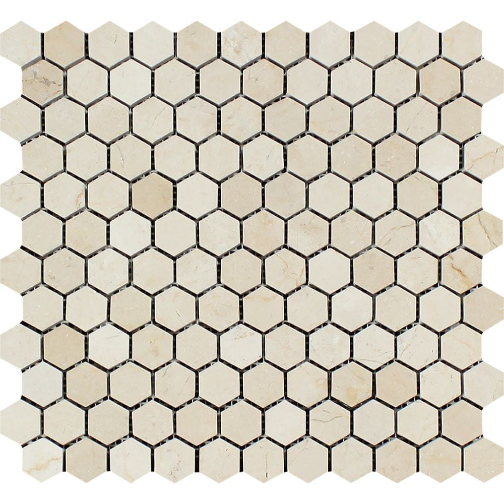 1 x 1 Polished Crema Marfil Marble Hexagon Mosaic Tile Sample - Tilephile