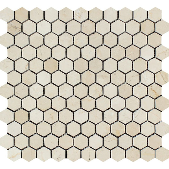 1 x 1 Polished Crema Marfil Marble Hexagon Mosaic Tile - Tilephile