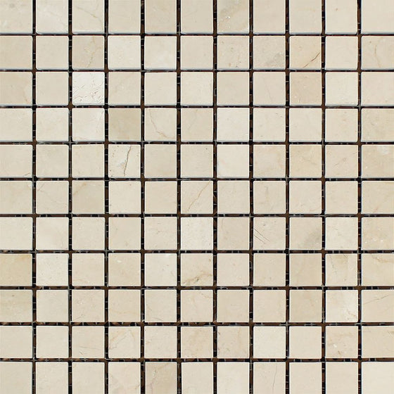 1 x 1 Polished Crema Marfil Marble Mosaic Tile