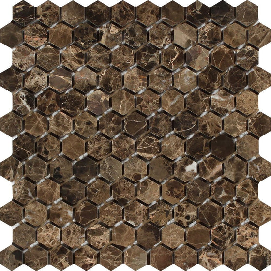 1 x 1 Polished Emperador Dark Marble Hexagon Mosaic Tile