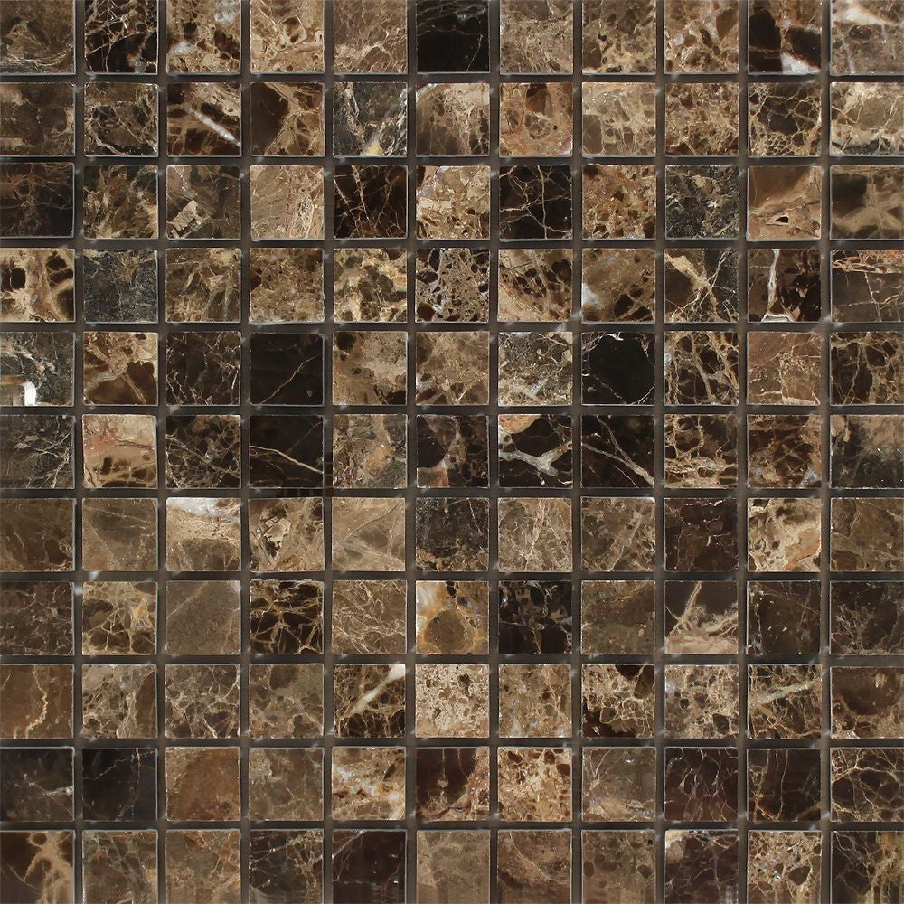 1 x 1 Polished Emperador Dark Marble Mosaic Tile Sample - Tilephile