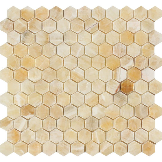 1 x 1 Polished Honey Onyx Hexagon Mosaic Tile - Tilephile
