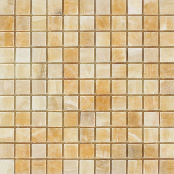 1 x 1 Polished Honey Onyx Mosaic Tile - Tilephile