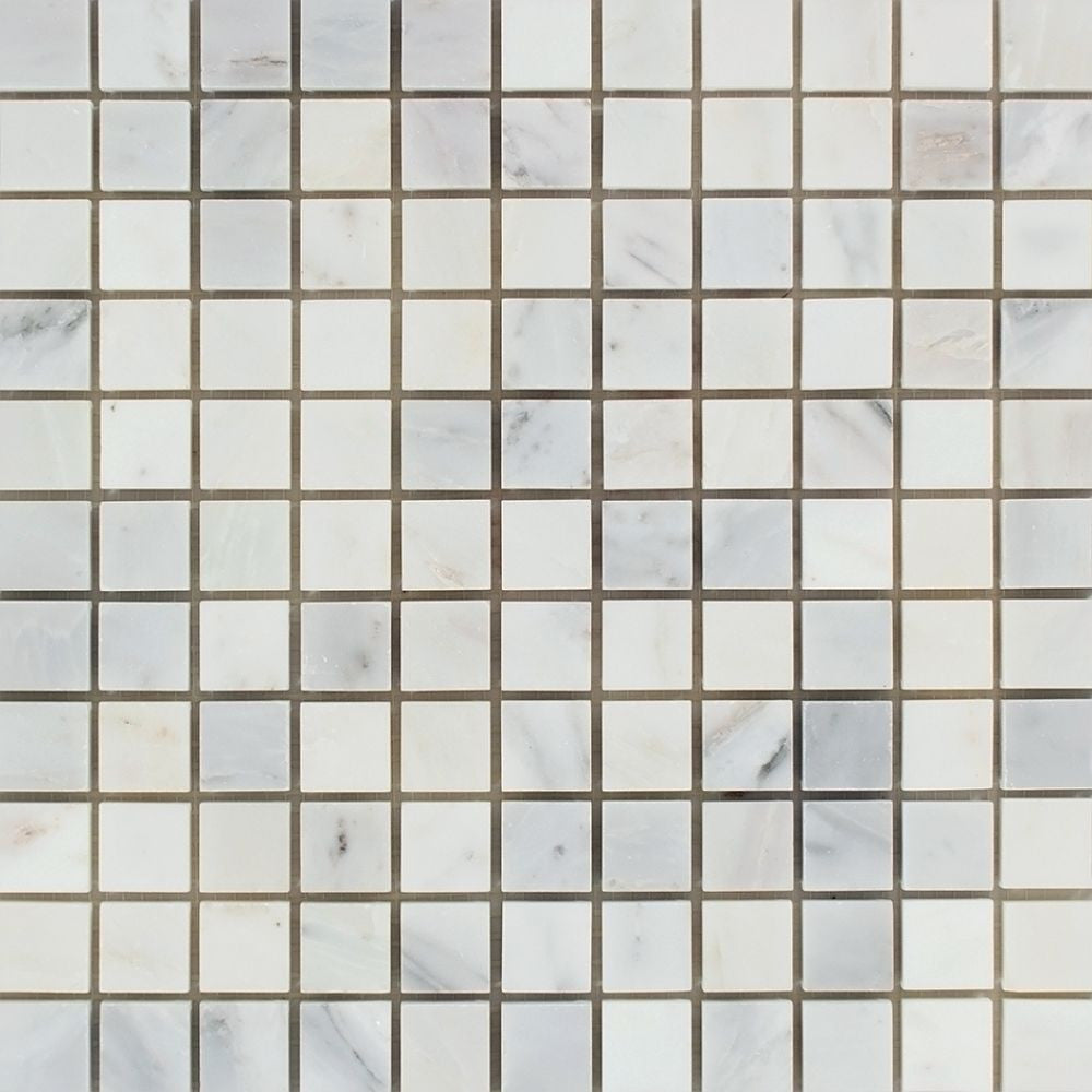 1 x 1 Polished Oriental White Marble Mosaic Tile Sample - Tilephile