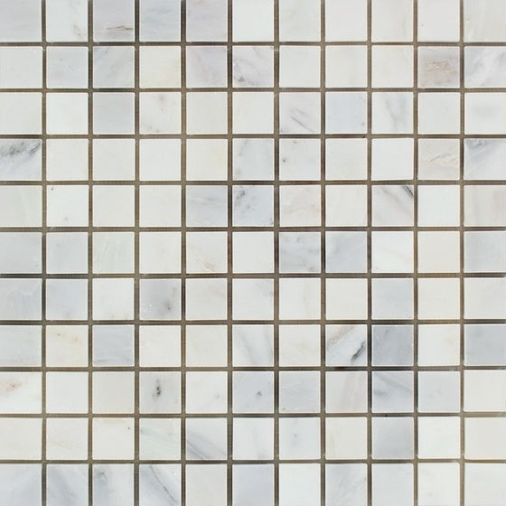 1 x 1 Polished Oriental White Marble Mosaic Tile