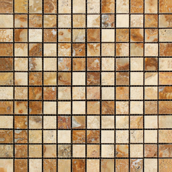 1 x 1 Polished Scabos Travertine Mosaic Tile