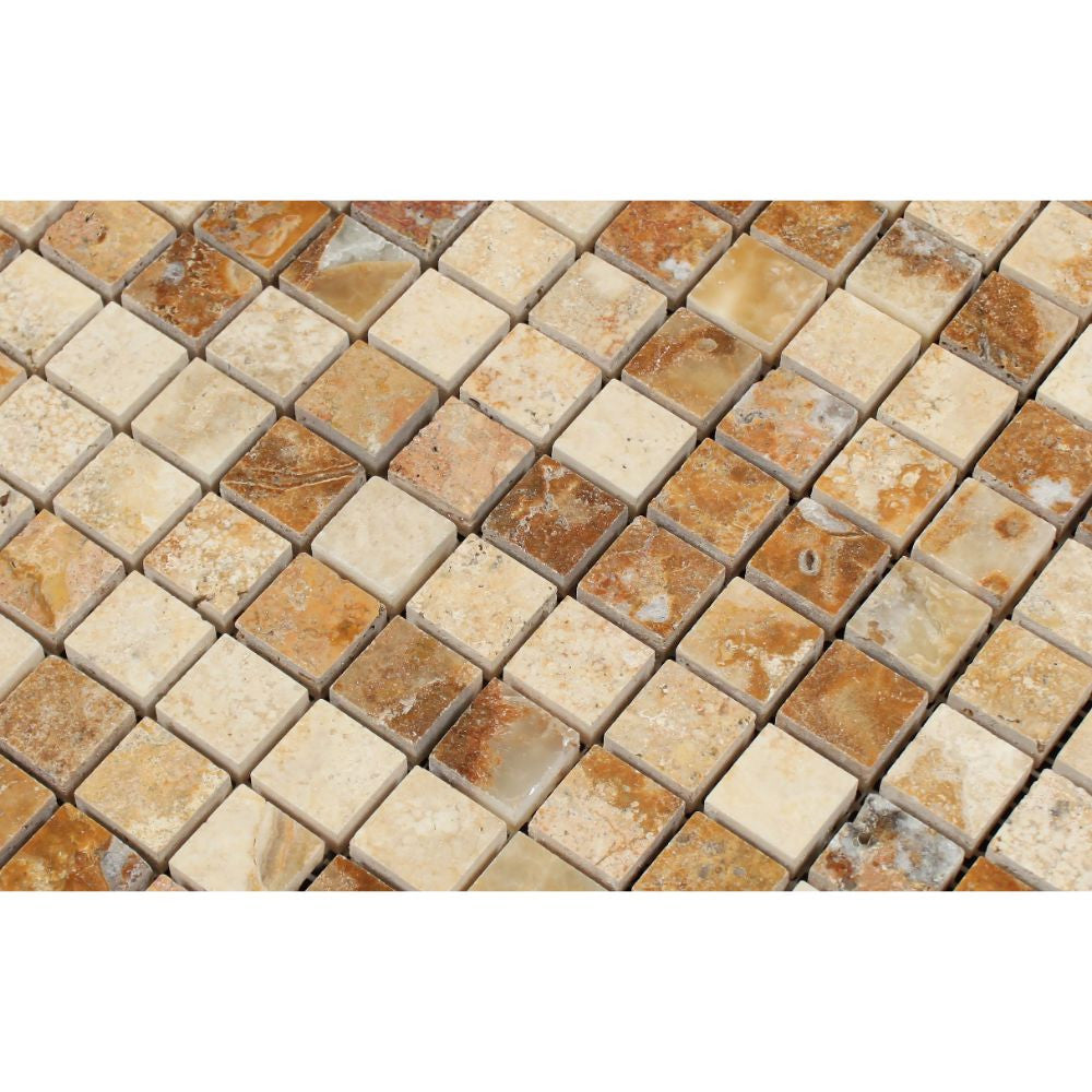 1 x 1 Polished Scabos Travertine Mosaic Tile - Tilephile
