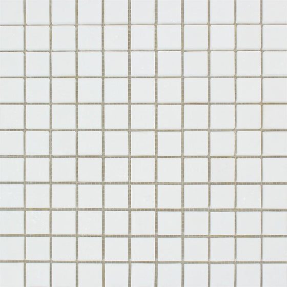 1 x 1 Polished Thassos White Marble Mosaic Tile - Tilephile