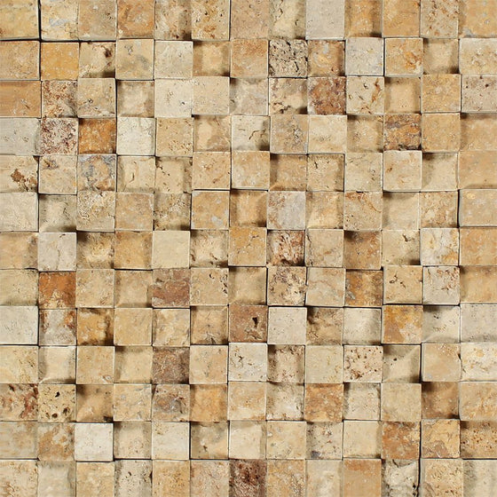 1 x 1 Split-faced Gold Travertine 3-D Mosaic Tile