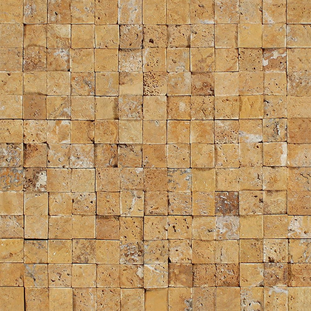1 x 1 Split-faced Gold Travertine Mosaic Tile - Tilephile