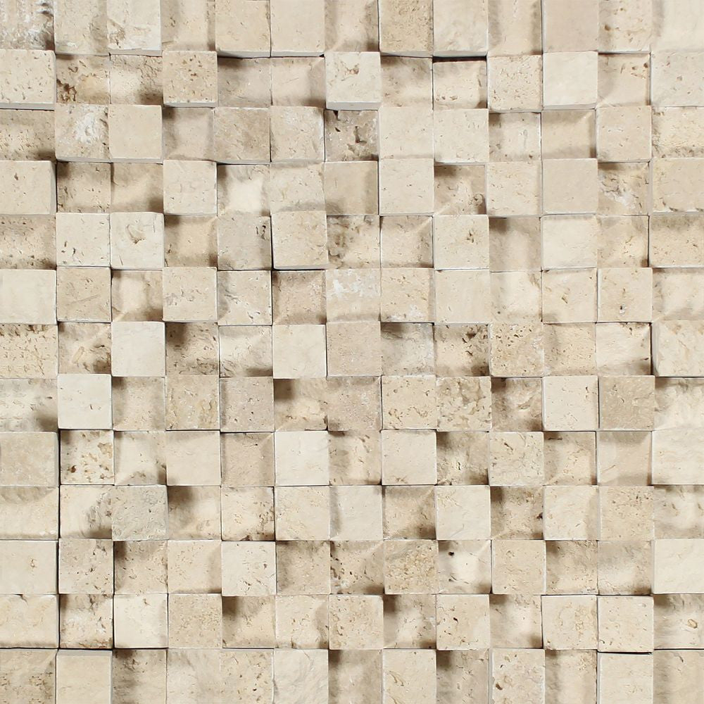 1 x 1 Split-faced Ivory Travertine 3-D Mosaic Tile - Tilephile
