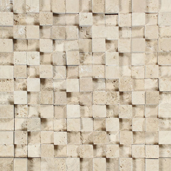 1 x 1 Split-faced Ivory Travertine 3-D Mosaic Tile