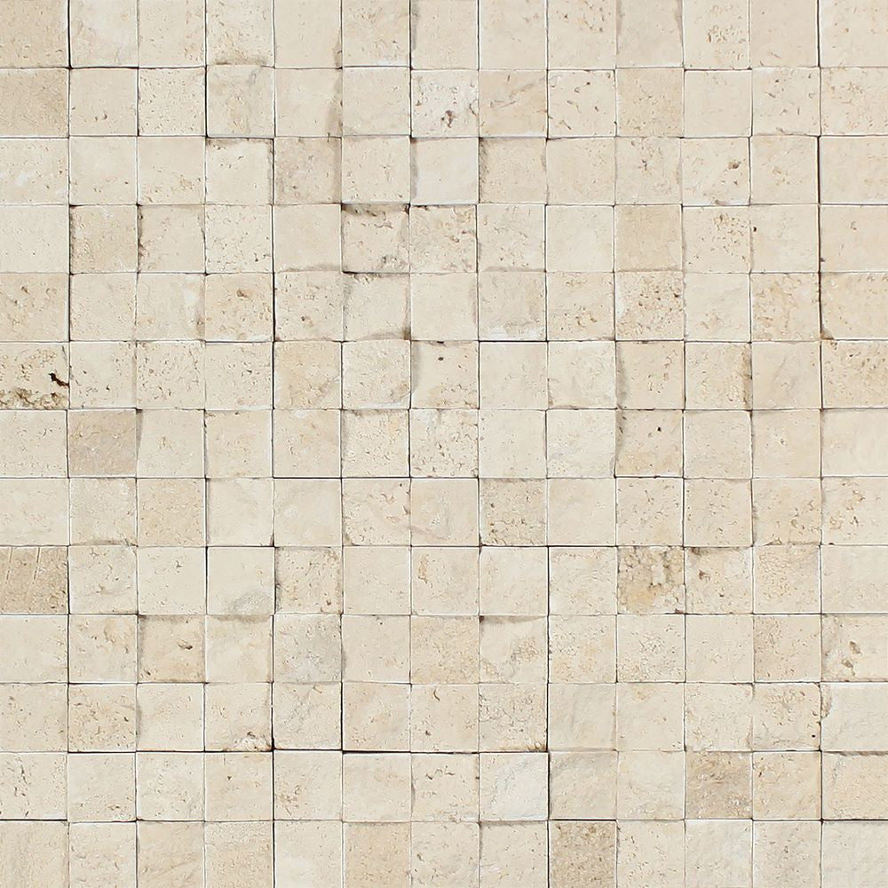 1 x 1 Split-faced Ivory Travertine Mosaic Tile Sample