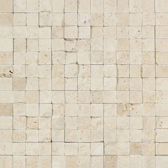1 x 1 Split-faced Ivory Travertine Mosaic Tile