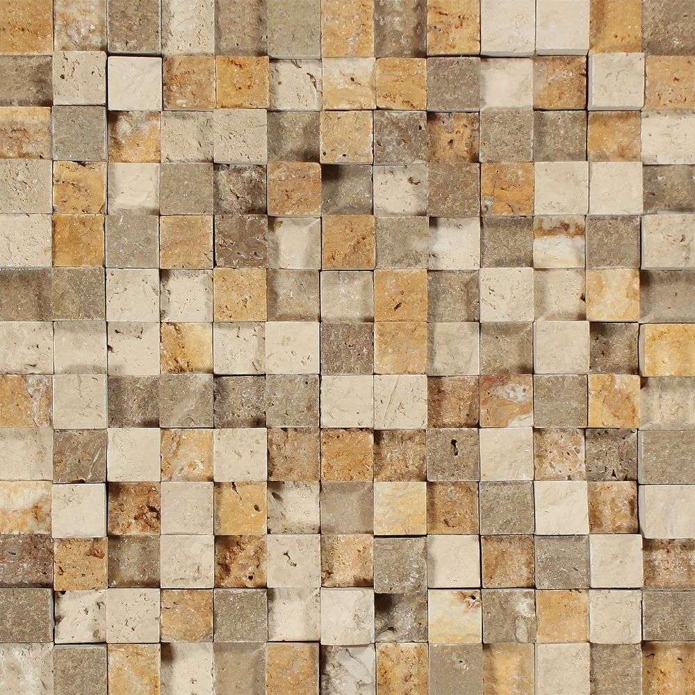 1 x 1 Split-faced Mixed Travertine 3-D Mosaic Tile (Ivory + Noce + Gold) Sample - Tilephile