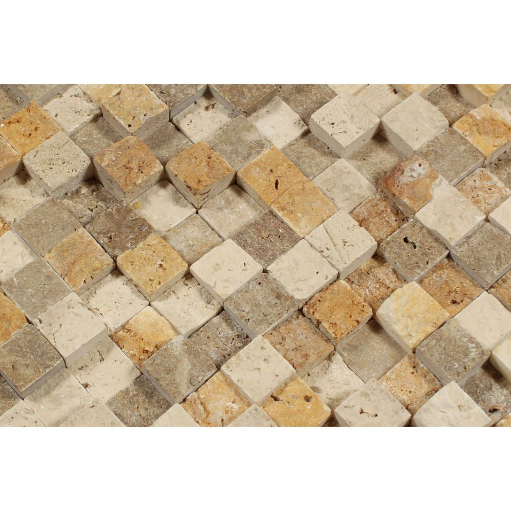 Noce 1X1 Travertine HI-LOW Split-Faced Mosaic Tiles