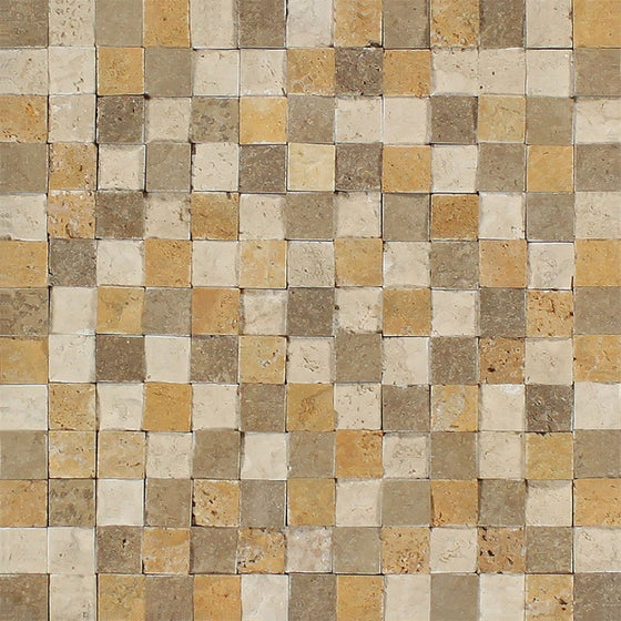 1 x 1 Split-faced Mixed Travertine Mosaic Tile (Ivory + Noce + Gold)