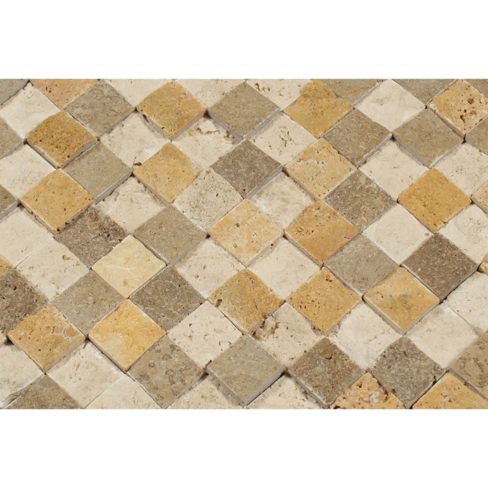1 x 1 Split-faced Mixed Travertine Mosaic Tile (Ivory + Noce + Gold) - Tilephile