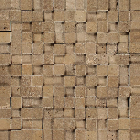 1 x 1 Split-faced Noce Travertine 3-D Mosaic Tile - Tilephile