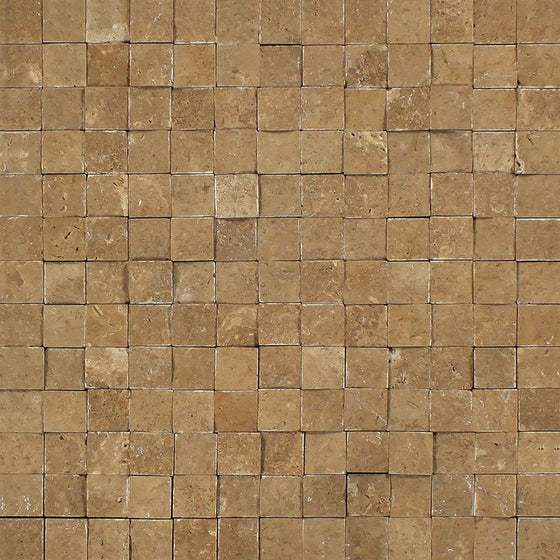 1 x 1 Split-faced Noce Travertine Mosaic Tile - Tilephile