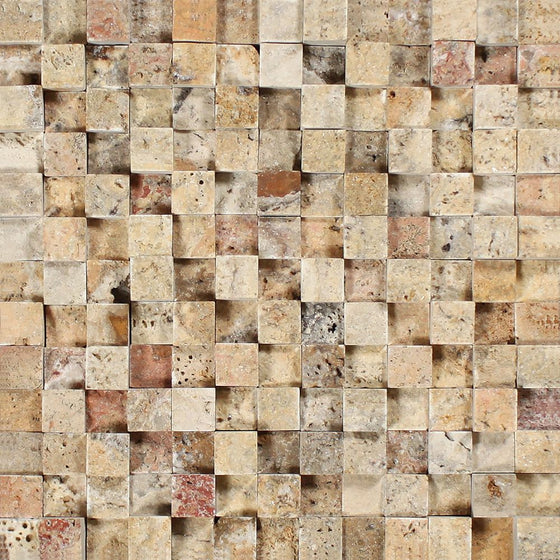 1 x 1 Split-faced Scabos Travertine 3-D Mosaic Tile