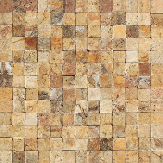 1 x 1 Split-faced Scabos Travertine Mosaic Tile - Tilephile