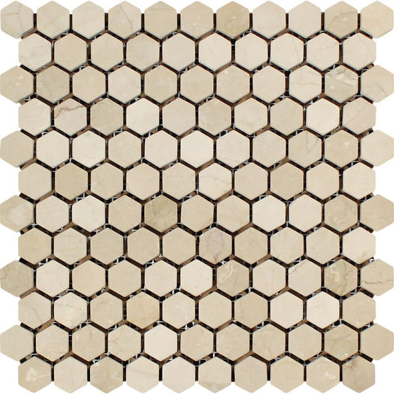 1 x 1 Tumbled Crema Marfil Marble Hexagon Mosaic Tile - Tilephile