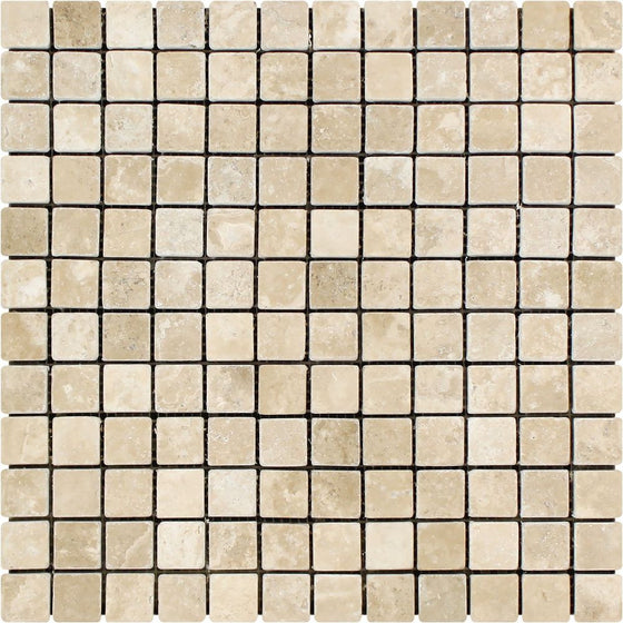 1 x 1 Tumbled Durango Travertine Mosaic Tile - Tilephile