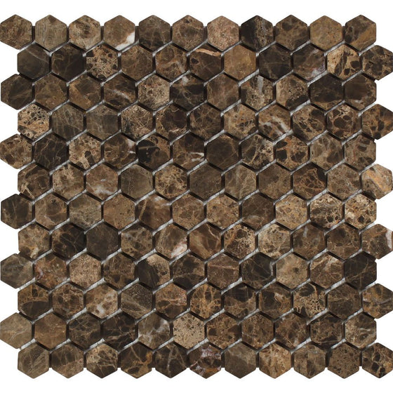 1 x 1 Tumbled Emperador Dark Marble Hexagon Mosaic Tile - Tilephile