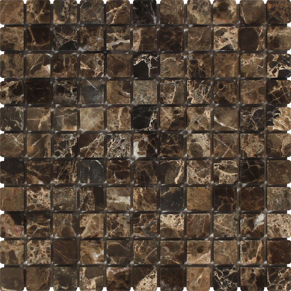 1 x 1 Tumbled Emperador Dark Marble Mosaic Tile Sample - Tilephile