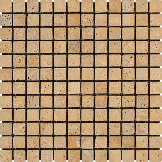 1 x 1 Tumbled Gold Travertine Mosaic Tile - Tilephile